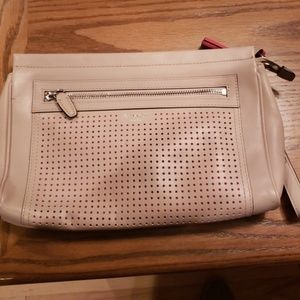 Nude Coach Clutch with Tassles and Orange Punchout